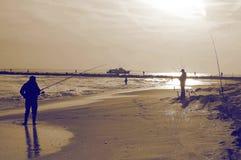 Pescadores ventosos do ponto da pesca do ponto de New York City Foto de Stock Royalty Free