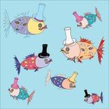 Pescados abstractos en el fondo del sombrero Ilustración del Vector
