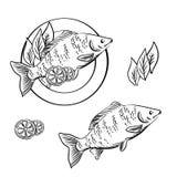 Pescados ahumados con el limón y las hierbas frescas Imagenes de archivo