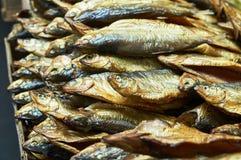 Pescados ahumados en el contador de la tienda Imagen de archivo