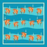Pescados anaranjados brillantes con las burbujas en un fondo azul Imagen de archivo