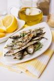 Pescados asados a la parilla de la sardina Imagenes de archivo