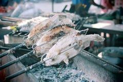 Pescados asados a la parrilla, Ayuthya Imagen de archivo libre de regalías