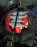 pescados asados a la parrilla en una comida tailandesa de la estufa del carbón de leña imagen de archivo libre de regalías