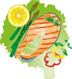 Pescados asados a la parrilla jugosos brillantes en un ejemplo de la hoja de la lechuga Stock de ilustración