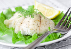 Pescados blancos cocidos al horno Foto de archivo libre de regalías
