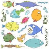 Pescados cómicos de la historieta Ilustración del Vector