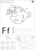Pescados, cara y zorro de la historieta Hoja de trabajo de trazado del alfabeto: escritura Foto de archivo libre de regalías