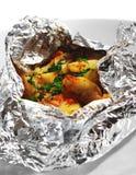 Pescados cocidos al horno en hoja Foto de archivo