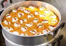 Pescados cocidos al vapor con goma del curry Fotografía de archivo