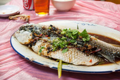 Pescados cocidos al vapor en salsa de la alubia negra y de soja en el restaurante de Hong Kong fotos de archivo