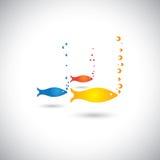 Pescados coloridos abstractos con las burbujas en el mar o la aguamarina Fotografía de archivo