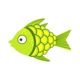 Pescados coloridos fantásticos verdes y amarillos del acuario, animal acuático del filón tropical stock de ilustración