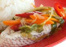 Pescados con arroz imagen de archivo libre de regalías