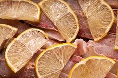 Pescados con el limón Foto de archivo libre de regalías