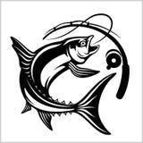Pescados con la caña de pescar en estilo monocromático Logotipo para el club de la pesca, del campeonato y de deporte libre illustration
