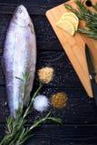 Pescados crudos con las especias imagenes de archivo