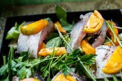 Pescados crudos con las verduras y las hierbas en la cacerola Fotos de archivo libres de regalías