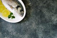 Pescados crudos frescos del dorado con las rebanadas de la cal y las hojas de menta Visi?n superior Copie el espacio foto de archivo
