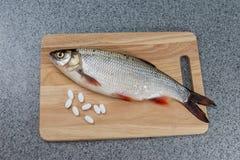 Pescados crudos, no cocinados Pescados blancos en una tabla de cortar y píldoras Fotos de archivo libres de regalías