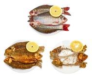 Pescados crudos, pescados fritos, huesos de pescados en la placa Foto de archivo
