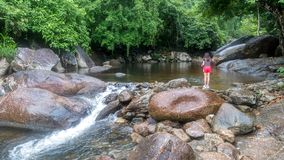 Pescados de alimentación de la chica joven por el río fotografía de archivo