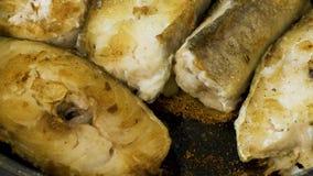 Pescados de bacalao que asan a la parrilla en un primer de la cacerola almacen de metraje de vídeo