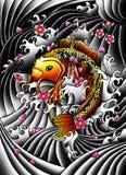 Pescados de Koi con las flores Imagenes de archivo