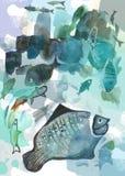 Pescados de la acuarela Imagen de archivo