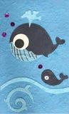 Pescados de la ballena de Papercraft en fondo del mar Foto de archivo libre de regalías