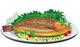 Pescados de la carne asada en la placa Fotografía de archivo libre de regalías