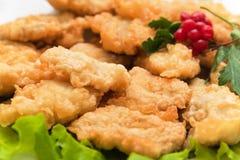 Pescados de la carne asada en pasta con verdes Fotografía de archivo