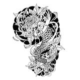 Pescados de la carpa y tatuaje del crisantemo que dibuja a mano Imagen de archivo libre de regalías