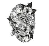 Pescados de la carpa y tatuaje del crisantemo que dibuja a mano Fotografía de archivo