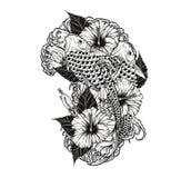 Pescados de la carpa y tatuaje del crisantemo que dibuja a mano Fotos de archivo
