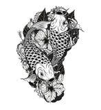 Pescados de la carpa y tatuaje del crisantemo que dibuja a mano Imagenes de archivo