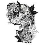 Pescados de la carpa y tatuaje del crisantemo que dibuja a mano Foto de archivo libre de regalías