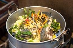 Pescados de la serpiente con las verduras cocidas al vapor Imagen de archivo libre de regalías