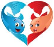 Pescados de la tarjeta del día de San Valentín en amor Imagen de archivo