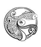 Pescados de Logo Doodle Ilustración drenada mano Fotografía de archivo