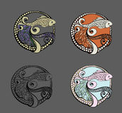 Pescados de Logo Doodle Ilustración drenada mano del vector Fotografía de archivo