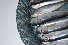 Pescados de los espadines en una placa Imagen de archivo