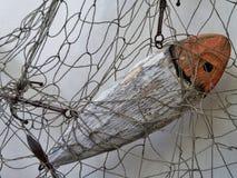 Pescados de madera en red de pesca Fotografía de archivo libre de regalías