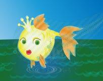 Pescados de oro cogidos en una red stock de ilustración