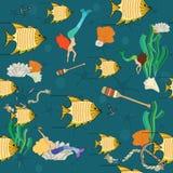 Pescados de oro y sirenas coloridas stock de ilustración
