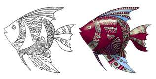 Pescados de Zentangle Imágenes de archivo libres de regalías