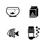 Pescados del acuario Iconos relacionados simples del vector Fotografía de archivo libre de regalías