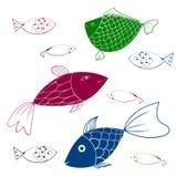 Pescados del acuario - sistema de iconos del vector Imágenes de archivo libres de regalías