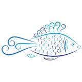 Pescados del azul del extracto del vector del garabato Fotografía de archivo libre de regalías