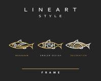 Pescados del icono Pescados de mar del emblema para el diseño del menú Foto de archivo